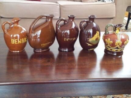 Vintage Antique Collector Doulton Dewar's Whisky Flask Jug Set/5