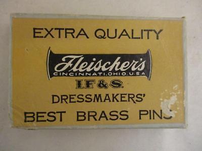 Vtg Fleischer's Dressmakers Brass Pins Sewing Alterations Cincinnati OH