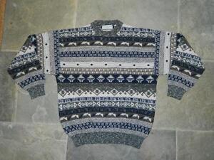 Vintage 1980s/90s Patterned Cosby Sweater Jumper by Verrace eighties nineties L