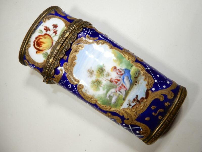 Antique French porcelain Sevres cobalt blue box bronze trim