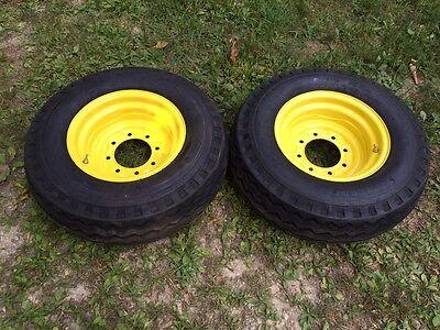 2 New 11l-16 Backhoe Tireswheelsrims - F3 12 Ply Rating - 11l-16sl - 11lx16