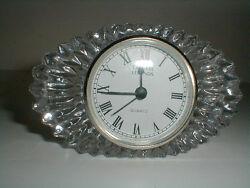 Godinger 24% Genuine Lead Crystal Legends Oval Quartz Mantel/Desk Clock