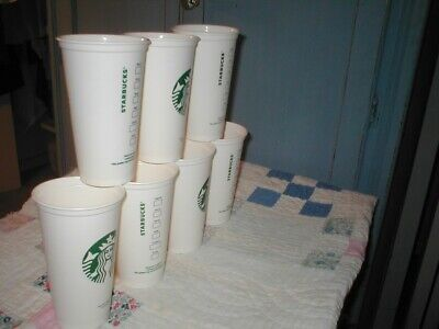 Starbucks Grande hard plastic 16 ounce recyclable hot/cold BPA free  (7 cups) 7 Oz Hot Cold Cup