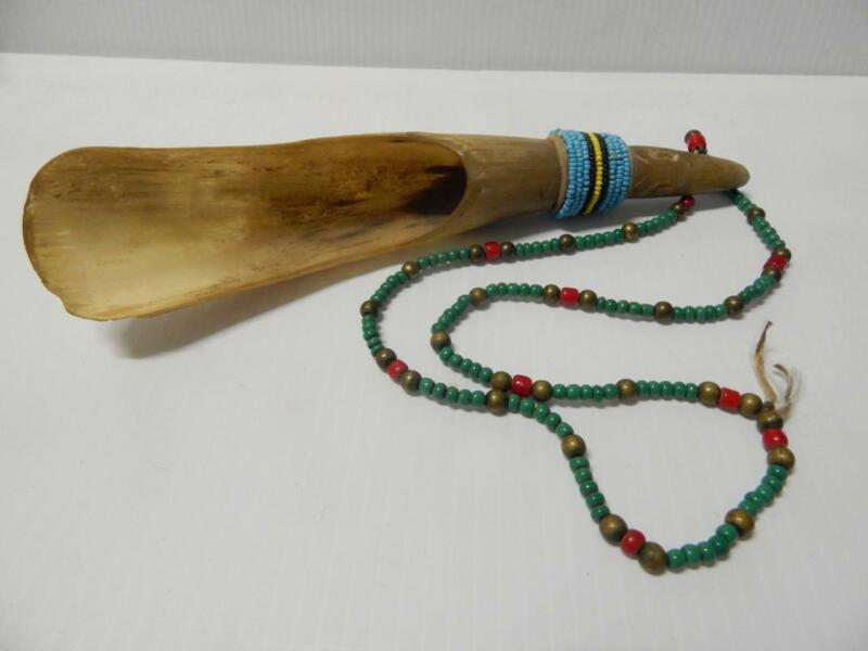 VINTAGE PLAINS S. CHEYENNE BEADED COW HORN SPOON - SOME PONY BEADS XLNT COND !