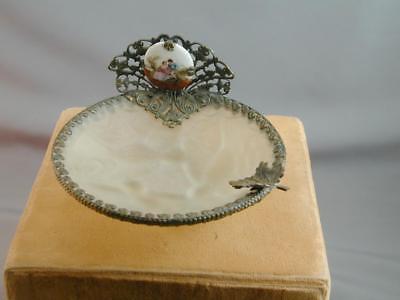 OLD Frost Glass Birds Metal Filigree Dresser Jewelry Trinket Dish HP Limoges Je