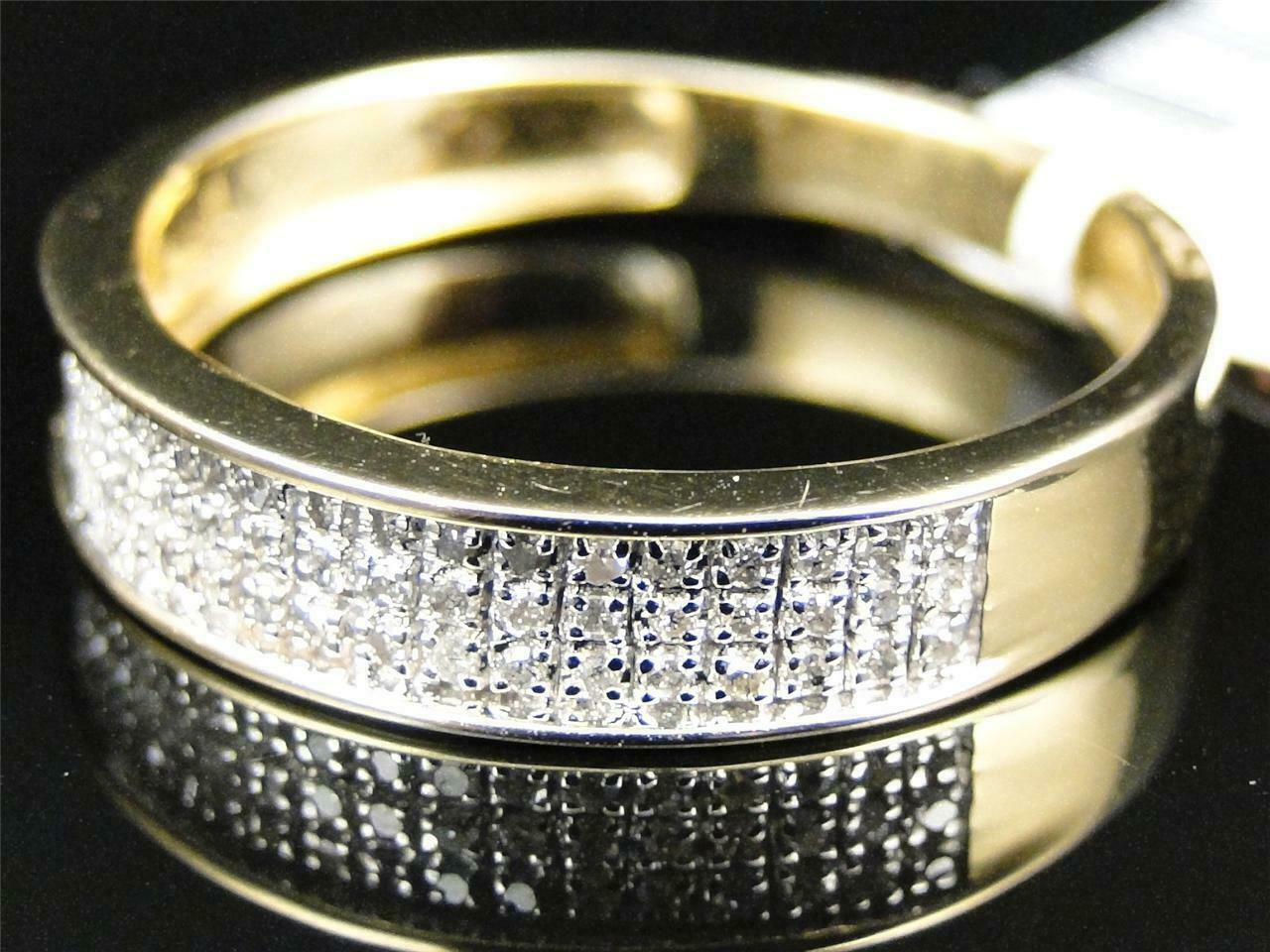 0.50Ct Round Cut Diamond Mens Wedding Engagement Band Ring 14K Yellow Gold Over 1