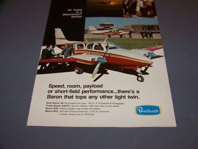 VINTAGE..BEECHCRAFT BARON SERIES ..4-PAGE COLOR SALES AD...RARE! - 420 Page Color