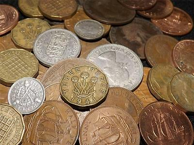 COLLECTION-OF-15-UK-PRE-DECIMAL-COINS-INCLUDING-SILVER-THREEPENCE