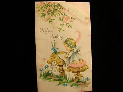 """VINTAGE """"LITTLE ANGEL REMEMBERING YOU!!"""" BIRTHDAY GREETING CARD"""