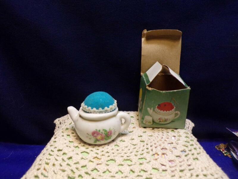 Vintage Tiny/ Mini TEAPOT/ TEA POT  PIN CUSHION- in box