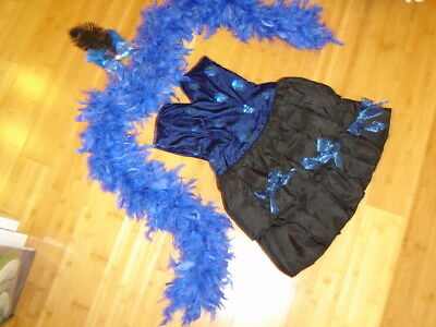 Ringmaster circus performer costume womens S blue dress boa Mardi - Circus Performer Costume