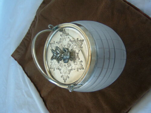 Antique English Frosted Glass Bisquit Barrel Biscuit