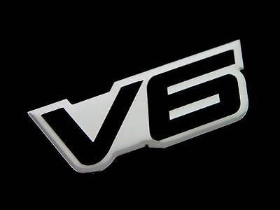 2 FENDER HOOD TRUNK CAR V6 6 CYLINDER ENGINE ALUMINUM EMBLEMS BADGE SET BLACK