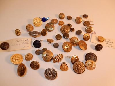 VINTAGE LOT OF MILITARY BUTTONS PIN PINBACK WWII ERA