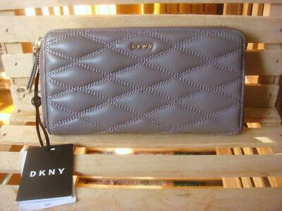 Around Glove - NWT~ DKNY DARK TAUPE QUILTED GLOVE LEATHER ZIP AROUND WALLET ~$138