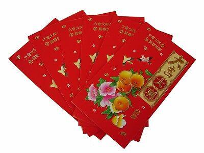 6 Stk Groß Chinesisches Neujahr Geld Umschläge Hongbao Rot Paket W Tangerine (Chinesische Rote Pakete)