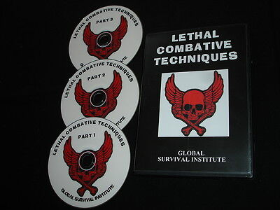AAA2  LETHAL COMBATIVE TECHNIQUES SET OF 3 DVDS MARTIAL ARTS JUDO KARATE KNIVES