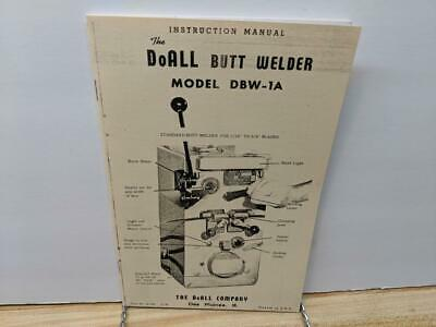 Doall Dbw 1a Butt Welder Instruction Manual Dbw-1a