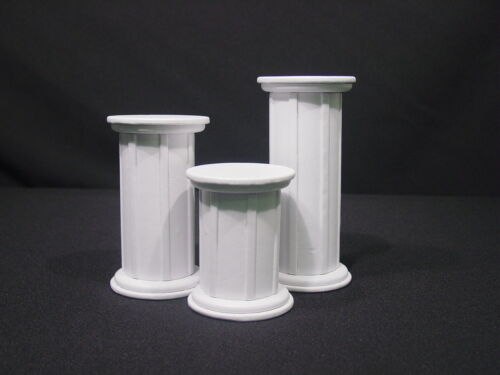 """7""""/6""""/4"""" H WHITE JEWELRY DISPLAY STAND SET RING PENDANT EARRING RISER  RS105W1"""