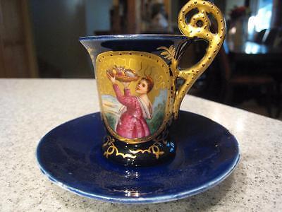 Ornate Old Antique Victorian Demitasse Cobalt & Gilt Painted Cup & Saucer Set