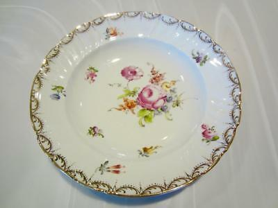 "LOVELY MEISSEN FLORAL 8"" RIM SOUP BOWL SAXONY PORCELAIN GOLD TRIM V-Fine Germany"