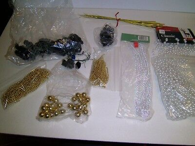Vtg & New Bead Garland Rope white gold + Black silk Roses picks Craft Wedding](Black White And Gold Wedding Decorations)