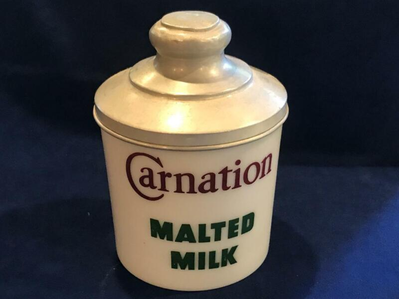 CARNATION MALTED MILK ADVERTISING JAR, Milk Glass with Aluminum Lid - NICE!