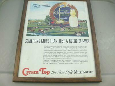 Vintage Framed Cream Top Milk Bottle Advertisement
