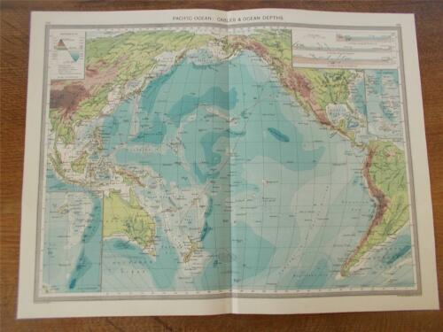 Antique c1904 Colour Map PACIFIC OCEAN CABLES & OCEAN DEPTHS HARMSWORTH ATLAS