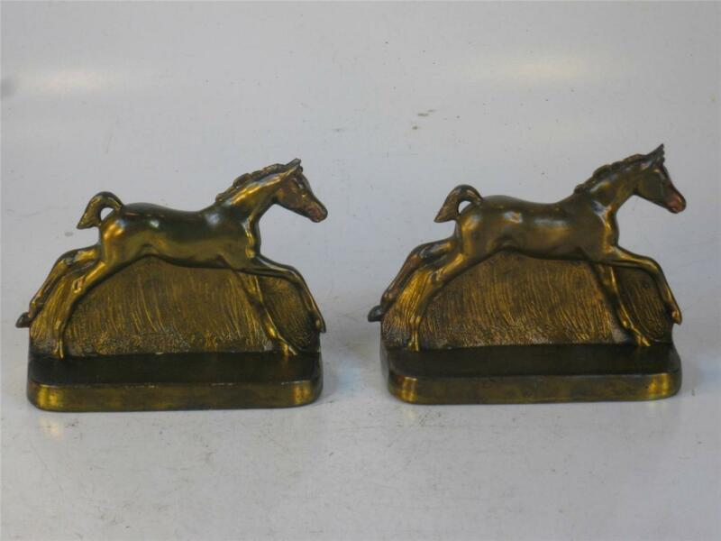 Vintage Bookends Running Foal, HORSE, Pony Bronze / Gold Finish White Metal