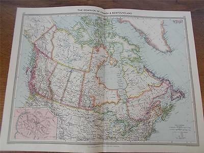 Antique c1904 Colour Map of THE DOMINION OF CANADA & NEWFOUNDLAND NORTH AMERICA