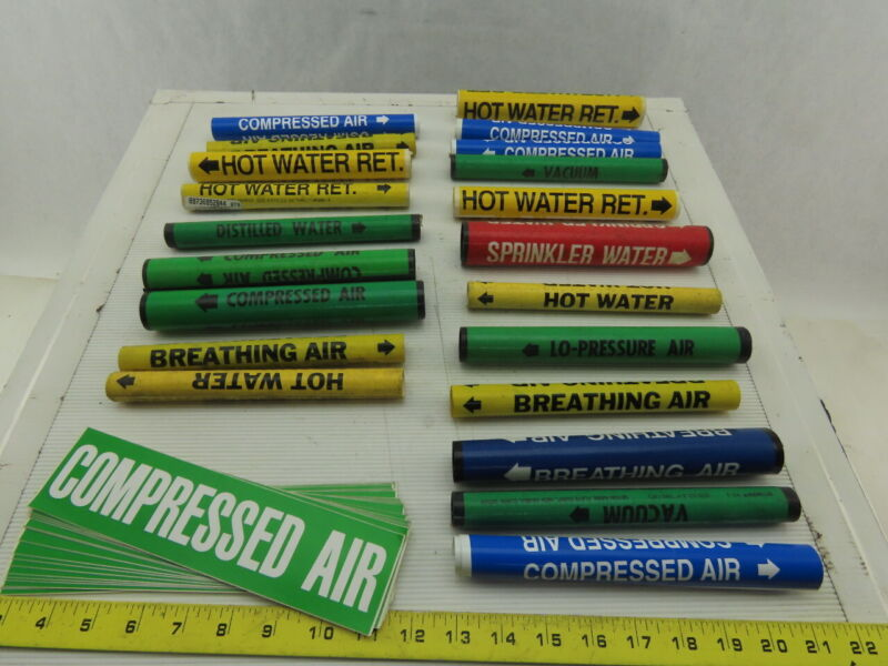 Brady Water Gas Air Pipe Identification Snap On Label Marker & Stickers 40 Pcs.