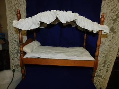 """VINTAGE WOODEN FOUR POSTER DOLL BED WITH CANOPY 25.50L 22""""T 14""""W"""