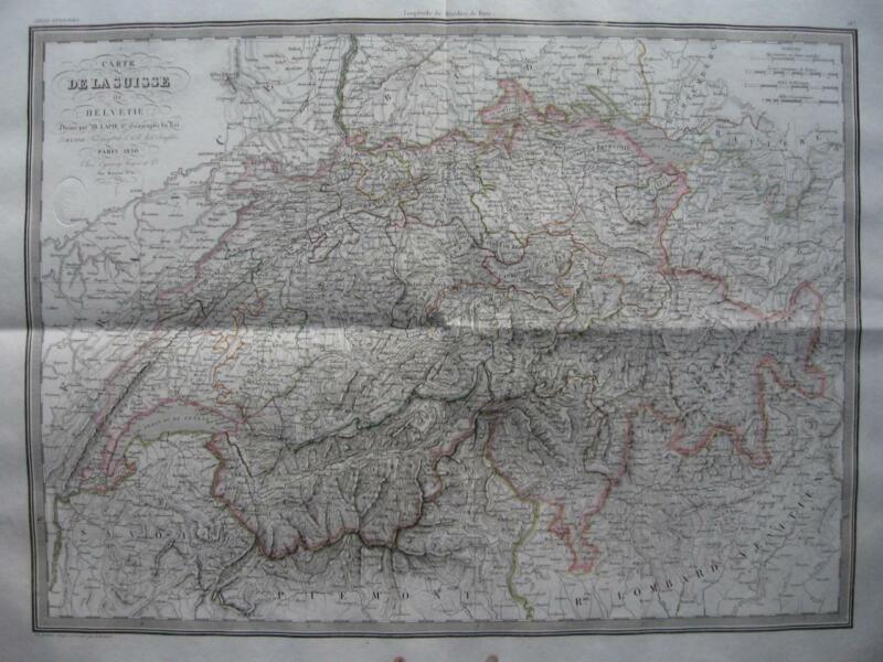 1830 - LAPIE - Large map  SWITZERLAND  Schweiz Suisse Svizzera