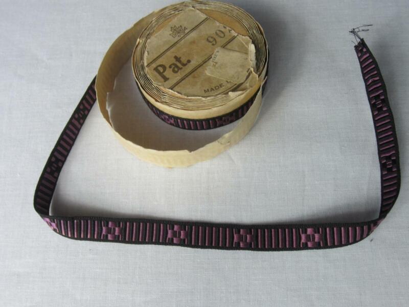 """*True Antique Edwardian Ribbon Braid Trim - Original Spool 2 yd 7"""" Purple, Black"""