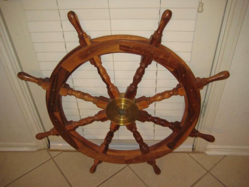 "Vintage 36"" Big Ship Steering Helm Wheel Wooden Brass Nautical Pirate Ship Decor"