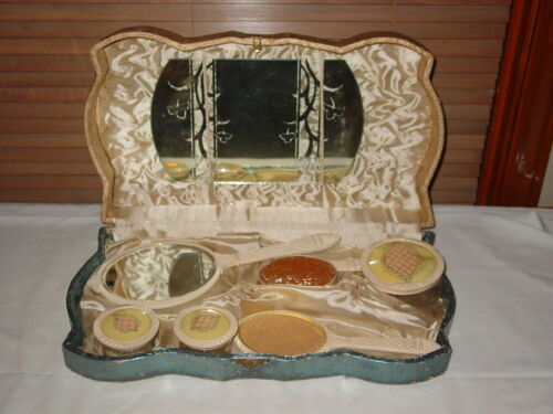 Vintage Cosmetic Vanity Boxed Set - Brush Mirror Make-up & Powder Jars Comb
