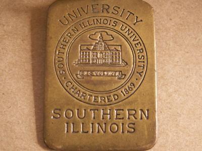 vintage brass SOUTHERN ILLIINOIS UNIVERSITY keychain locker tag Saluki Athletics