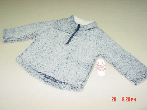 NWT NWOT Toddler Boy Girls Pullover Sherpa Top Blue Cove Warm Soft Zipper coat