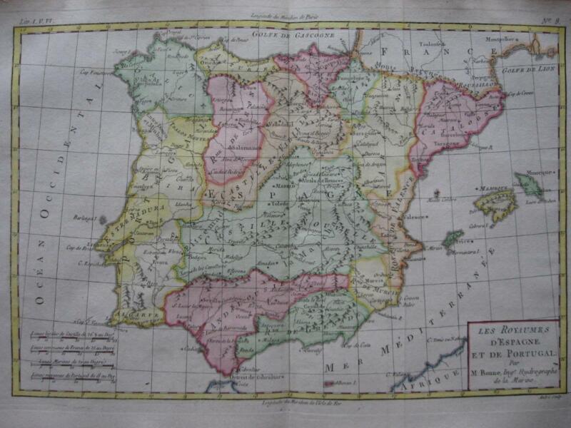 BONNE - Map  SPAIN & PORTUGAL c1780