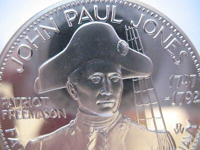 7/8-OZ  JOHN PAUL JONES FREEMASON MASONIC BROTHERHOOD COIN SILVER.925+ GOLD