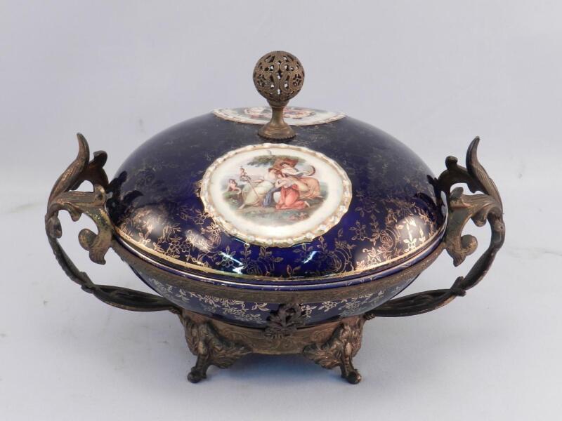 Antique Porcelain & Bronze Dresser Box~2 Medallions~Cobalt Blue~Fine Metalwork