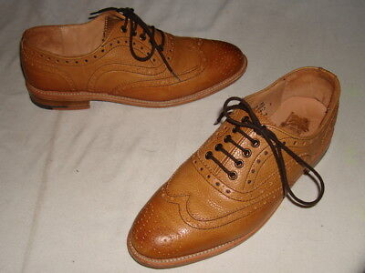 BEST OF BRITISH for M&S BEIGE LACE-UP LEATHER WELTED BROGUE SHOES SZ. 3UK/5.5