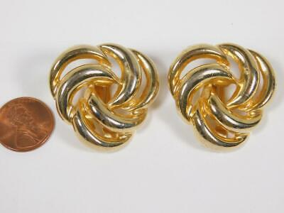 VINTAGE PAOLO GUCCI SIGNED GOLD TONE LARGE CLIP ON EARRINGS