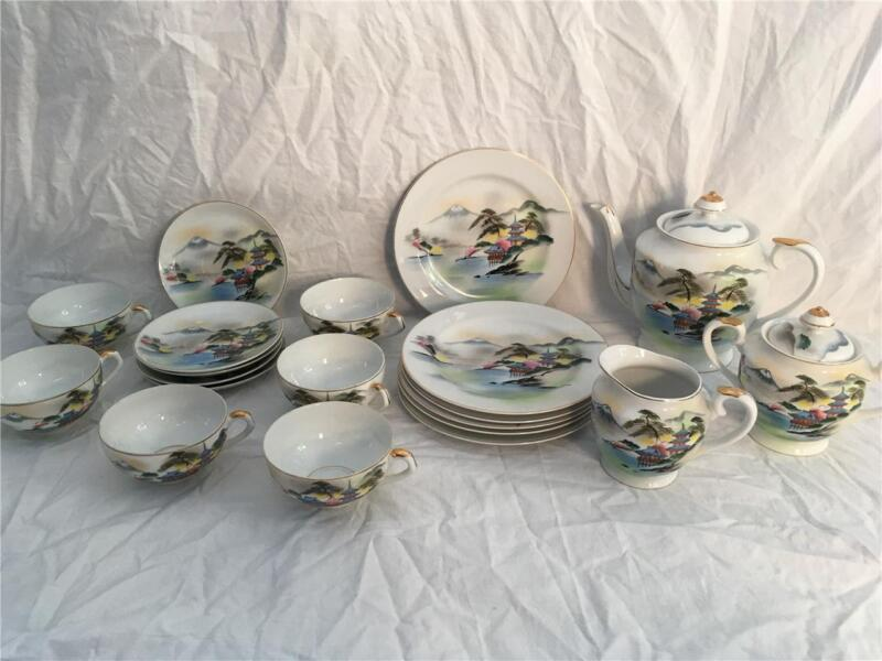 Vintage China Tea Pot Cup Saucer Set Hand Painted Japan Japanese Scene