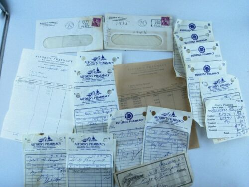 LOT of Vintage 1960s Pharmacy Receipts Lewisburg Tennessee TN, Alford