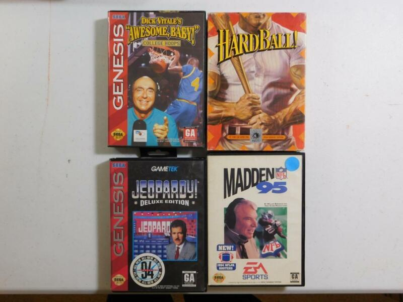 LOT OF 4 SEGA GENESIS GAMES W/ CASES AWESOME HOOPS HARDBALL JEOPARDY MADDEN 95