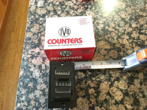 IVO 8 DIGIT DOUBLE STACKED COUNTER  24VDC NOS USA MADE