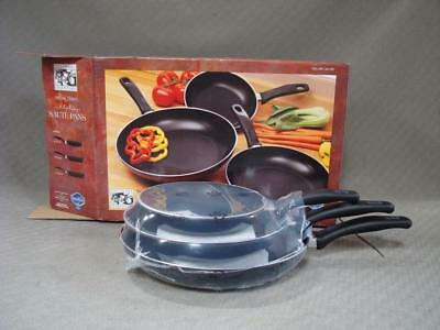 NIB Culinary Essentials Saute Skillet Frying Pans Set of 3 NOS