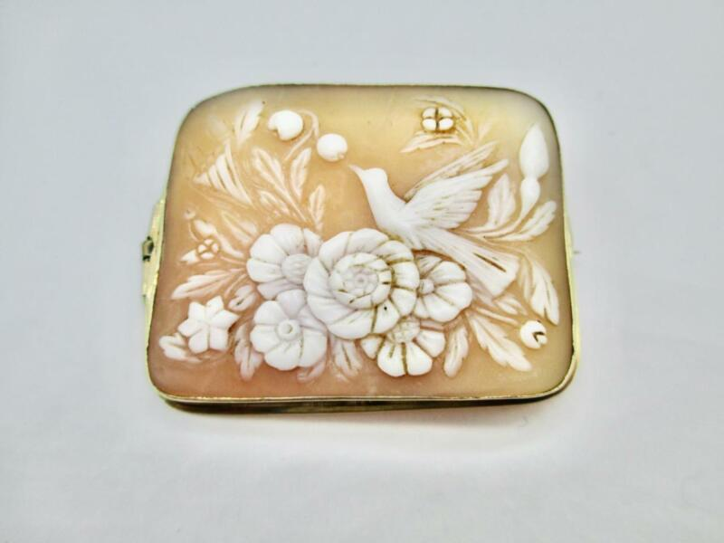 7.5 GRAM ANTIQUE VICTORIAN 14K YELLOW GOLD FLORAL DOVE CAMEO BROOCH PIN